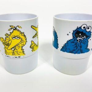1970s Big Bird & Cookie Monster Sesame Street cups